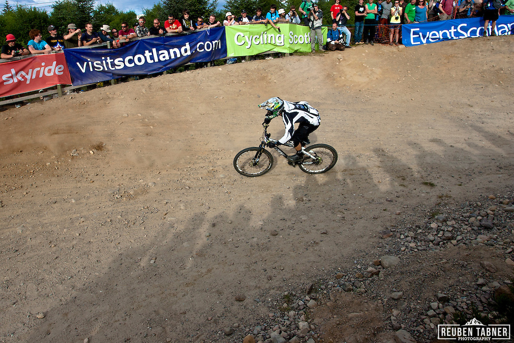Kamil Tatarkovic in the  semi-final of the men's four cross (4X) at the UCI Mountain Bike World Cup in Fort William, Scotland.