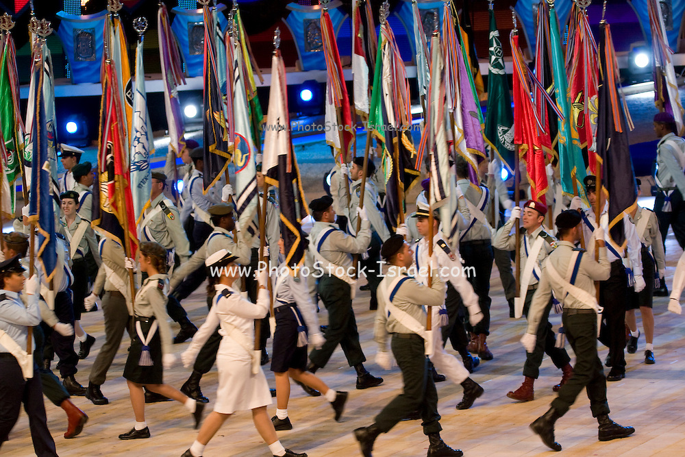 Israel, Jerusalem, Mount Herzl, Israel's independence day parade 61 years to the state of Israel 28/4/09 Military flag bearers on parade