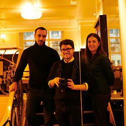Fabrizio Casiraghi, designer, with journalist Isabela Munoz Ozores and I at the Drouant restaurant. Paris, France. January 15, 2020.