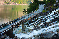 Norway, Maurangsfjorden. Furebergfossen waterfall in Hardangerfjord.