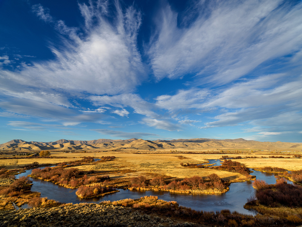 Editions of 17<br /> Silver Creek Autumn Sky with fall colors at the Nature Conservancy on Silver Creek near Picabo Idaho