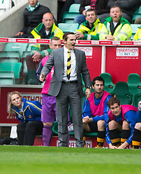 Alloa Athletic's manager Danny Lennon. <br /> Hibernian 3 v 0 Alloa Athletic, Scottish Championship game played 12/9/2015 at Easter Road.