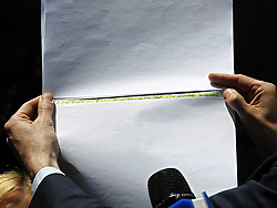 May 13, 2019 - Kiev, Ukraine - Ukrainian member of parliament SERHIY LESHCHENKO displays to journalists Paul Manafort name in allegedly off-the-books payments to President Donald Trump's former campaign chairman Paul Manafort , during Leshchenko's speaking outside of Appellate Administrative Court in Kiev, Ukraine, on 13 May 2019. Leshchenko claims that the Attorney General of Ukraine Yuriy Lutsenko misled attorney of US president Donald Trump and former New York mayor Rudy Giuliani that Leshchenko was convicted of meddling in the presidential elections in the United States 2016, and it Giuliani voiced on Fox News. Rudy Giuliani cancels Ukraine trip, says he'd be 'walking into a group of people that are enemies of the US', as Fox News channel reports earlier. (Credit Image: © Serg Glovny/ZUMA Wire)