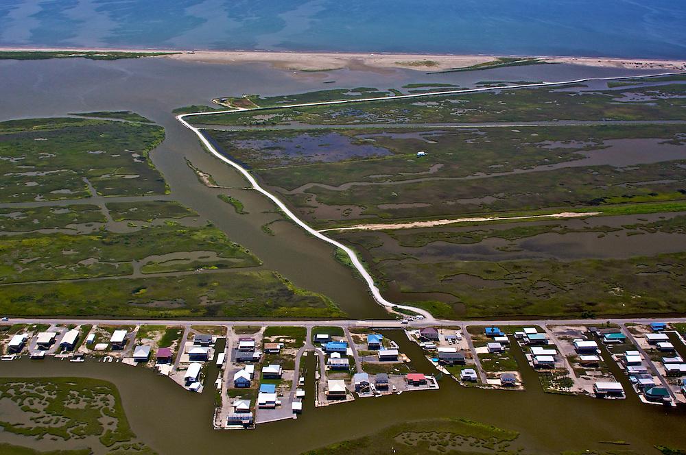 Cheniere Caminada (bottom) and Elmer's Island (top), Louisiana, USA (View South toward Gulf of Mexico)