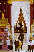"""04 FEBRUARY 2013 - PHNOM PENH, CAMBODIA:  Foreign dignitaries file into the crematorium during the cremation of King-Father Norodom Sihanouk in Phnom Penh. Norodom Sihanouk (31 October 1922- 15 October 2012) was the King of Cambodia from 1941 to 1955 and again from 1993 to 2004. He was the effective ruler of Cambodia from 1953 to 1970. After his second abdication in 2004, he was given the honorific of """"The King-Father of Cambodia."""" Sihanouk died in Beijing, China, where he was receiving medical care, on Oct. 15, 2012.   PHOTO BY JACK KURTZ"""