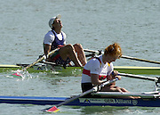 © Peter Spurrier/Sports Photo .email pictures@rowingpics.com tel +44 7973 819 551.Photo  Peter Spurrier.30/08/2003 Saturday.2003 World Rowing Championships, Idroscala. Milan, Italy.  {A Finals]   Gold medal winner  BUL W1X - Rumyana Neykova  foreground (GER W1X) Milan. ITALY 2003 World Rowing Championships. Idro Scala Rowing Course. [Mandatory Credit: Peter Spurrier: Intersport Images.]