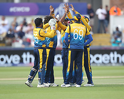 July 1, 2019 - Chester Le Street, County Durham, United Kingdom - Sri Lanka's Lasith Malinga celebrates with his team mates after dismissing West Indies'  Sunil Ambris during the ICC Cricket World Cup 2019 match between Sri Lanka and West Indies at Emirates Riverside, Chester le Street on Monday 1st July 2019. (Credit Image: © Mi News/NurPhoto via ZUMA Press)