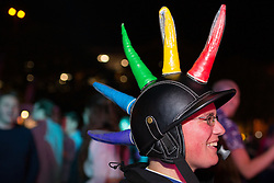 """© Licensed to London News Pictures . 22/08/2014 .  Manchester , UK . Interesting head wear on display . Manchester Pride """" Big Weekend """" in Manchester's """" Gay Village """" today ( 22nd August 2014 ) . Photo credit : Joel Goodman/LNP"""
