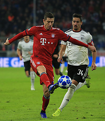 27.11.2018, Champions League  Saison 2018/ 2019, . Bayern vs Benfica Lissabon, Allianz Arena, Muenchen, Sport, im Bild:..Robert Lewandowski (FCB) vs Andre Almeida ( Benfica)..DFL REGULATIONS PROHIBIT ANY USE OF PHOTOGRAPHS AS IMAGE SEQUENCES AND / OR QUASI VIDEO...Copyright: Philippe Ruiz..Tel: 089 745 82 22.Handy: 0177 29 39 408.e-Mail: philippe_ruiz@gmx.de. (Credit Image: © Philippe Ruiz/Xinhua via ZUMA Wire)