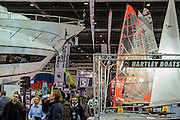 Sailing dinghies nad luxury power boats - The London Boat Show opens at the Excel centre. London 06 Jan 2017