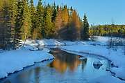 Last light on creek in winter<br />Near Kawene<br />Ontario<br />Canada