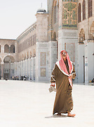 A worshipper in the Umayyad Mosque, the Great Mosque of Damascus, Damascus, Syria