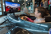 April 1, 2016; Indianapolis, Ind.; Tara Thompson rides in a simulator at the Women's Final Four Salute at the Indianapolis Motor Speedway.