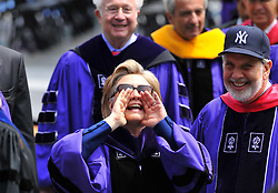 US Secretary of State Hillary Clinton shouts to the crowd as she exits the New York University (NYU) 177th Commencement at Yankee Stadium in New York City, USA on May 13, 2009. Photo by Gregorio Binuya/ABACAPRESS.COM (Pictured : Hillary Clinton)