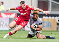Southern Kings' Berton Klaasen is tackled by Gareth Davies of the Scarlets during todays match.<br /> Guinness Pro14 rugby match, Scarlets v Southern Kings at the Parc y Scarlets in Llanelli, Carms, Wales on Saturday 2nd September 2017.<br /> pic by Craig Thomas, Andrew Orchard sports photography.