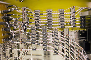 Wires and cables in a Rolls Royce jet engine production factory, Derbyshire, United Kingdom