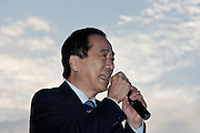 Former Prome Minister, Naoto Kan speaks at an Anti nuclear protest outside the National Diet building.in Kasumigaseki, Tokyo, Japan Sunday June 2nd 2013. Naoto Kan was the Prime Minister at the time of the March 11th 2011 earthqiake and tsunami that caused the problems at the Fukushima Daichi plant. His actions in forcing TEPCO to deal with the disaster are credited by some stopped the disaster being much bigger
