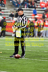 13 October 2012:  Umpire Brett Denker during an NCAA football game between the Youngstown State Penguins and the Illinois State Redbirds.  The Redbirds won the game by a score of 35-28 at Hancock Stadium in Normal Illinois