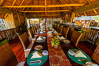 Open air dining room, Kwara Camp, Okavango Delta, Botswana.