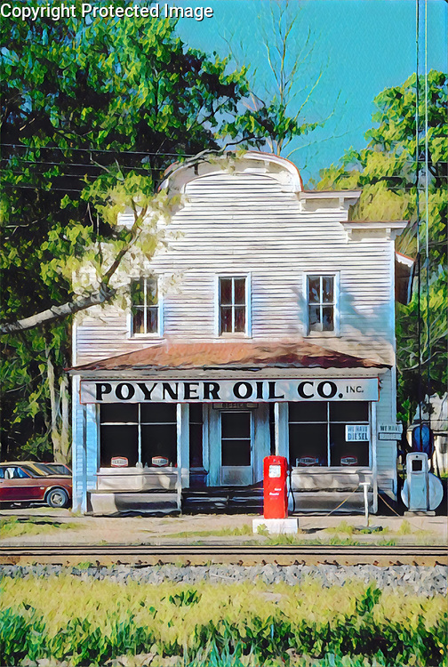 Old small town gas station in North Carolina