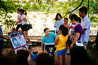 On a typical Sunday, artists and crowds gather around Hoan Kiem Lake in Hanoi, Vietnam.