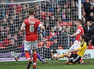 Ryan Flynn of Sheffield United slides in on goal during the Sky Bet League 1 match at Oakwell, Barnsley<br /> Picture by Graham Crowther/Focus Images Ltd +44 7763 140036<br /> 04/04/2015