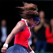 Serena Williams of the US celebrates her victory after winning the final match against Maria Sharapova of Russia at the WTA Championships tennis tournament in Istanbul, Turkey, 28 October 2012. Photo by Aykut AKICI/TURKPIX