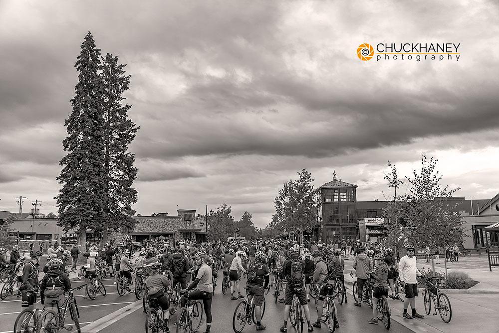 Start of the Last Best Ride gravel bike race in Whitefish, Montana, USA