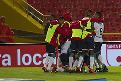 February 24, 2019 - Bogota, Colombia - Junior celebrates Fabian Sambueza's goal during a match between Independiente Santa Fe and Junior as part of Torneo Apertura Liga Aguila 2019 at Estadio El Campin on February 24, 2019 in Bogota, Colombia. (Credit Image: © Daniel Garzon Herazo/NurPhoto via ZUMA Press)