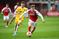 Fleetwood Town's George Glendon surges away from Millwall's Jed Wallace<br /> <br /> Photographer Richard Martin-Roberts/CameraSport<br /> <br /> The EFL Sky Bet League One - Fleetwood Town v Millwall - Monday 17th April 2017 - Highbury Stadium - Fleetwood<br /> <br /> World Copyright © 2017 CameraSport. All rights reserved. 43 Linden Ave. Countesthorpe. Leicester. England. LE8 5PG - Tel: +44 (0) 116 277 4147 - admin@camerasport.com - www.camerasport.com