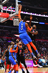 March 9, 2019 - Los Angeles, CA, U.S. - LOS ANGELES, CA - MARCH 08: Oklahoma City Thunder Center Nerlens Noel (3) goes up for a dunk during a NBA game between the Oklahoma City Thunder and the Los Angeles Clippers on March 8, 2019 at STAPLES Center in Los Angeles, CA. (Photo by Brian Rothmuller/Icon Sportswire) (Credit Image: © Brian Rothmuller/Icon SMI via ZUMA Press)
