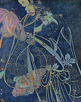 Moody contemporary remix of a traditional Geisha girl with butterflies and Chrysanthemums.