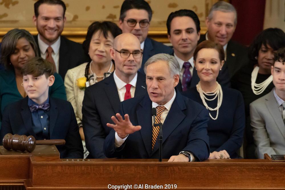 Tesax Governor Greg Abbott Addresses the Texas House of Representatives