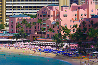 Beach in front of the Royal Hawaiian Hotel, Waikiki Beach, Honolulu, Oahu, Hawaii, USA