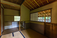 Japanese tearoom or Chashitsu have tatami mats and usually there is an alcove or tokonoma in the room, as well.  There is no fixed layout, as to where the door has to be in relation to the host's mat but the guests should be seated near the Tokonoma.  The tea ceremony host mat or temaeza cannot be in the same corner as guests as this is where tea is prepared