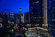 Calgary, Canada, downtown, night view, Tower revolving restaurant, Sky360