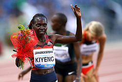 May 31, 2018 - Rome, Italy - Hywin Kyeng (KEN) celebrates after competing in 3000m Steeplechase women during Golden Gala Iaaf Diamond League Rome 2018 at Olimpico Stadium in Rome, Italy on May 31, 2018. (Credit Image: © Matteo Ciambelli/NurPhoto via ZUMA Press)
