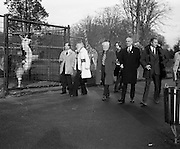 """Former Miss World Visits Dublin Zoo.<br /> 1973.<br /> 14.01.1973.<br /> 01.14.1973.<br /> 14th January 1973.<br /> Miss Eva Rueber-Staier, former Miss World from Austria and the """"World Wildlife Fund's Anniversary Girl"""", paid her first visit to Ireland to open the Shell/BP Irish Wildlife Promotion. As part of the promotion Eva paid a visit to Dublin Zoo in the Phoenix Park, Dublin.<br /> <br /> Image shows Miss Rueber-Staier touring the Zoo with  Shell/BP and Zoo officials."""