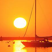 Rockland Harbor and Breakwater at sunrise. Camden, Maine