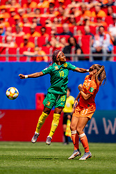 15-06-2019 FRA: Netherlands - Cameroon, Valenciennes<br /> FIFA Women's World Cup France group E match between Netherlands and Cameroon at Stade du Hainaut / Jeannette Yango #10 of Cameroon, Lieke Martens #11 of the Netherlands