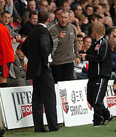 Photo: Tony Oudot.<br /> Brentford v Stockport County. Coca Cola League 2. 29/09/2007.<br /> Managers Terry Butcher of Brentford and Jim Gannon of Stockport argue and are both sent to the stands