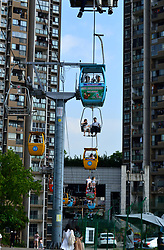 May 6, 2018 - Chongqing, Chongqing, China - Chongqing, CHINA-6th May 2018: The 1,000-meter-long sightseeing cable way can be seen amid residential buildings in southwest China's Chongqing. (Credit Image: © SIPA Asia via ZUMA Wire)