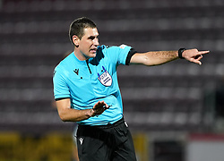 Referee Rade Obrenovic during the UEFA Under-21 Championship Qualifying Round Group I match at Tynecastle Park, Edinburgh. Picture date: Thursday, October 7, 2021.