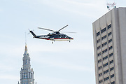 GOP Presidential nominee Donald Trump arrives by private helicopter for the Republican National Convention July 20, 2016 in Cleveland, Ohio. Trump flew into the lakeside airport by his private jet and then by helicopter for a grand arrival.