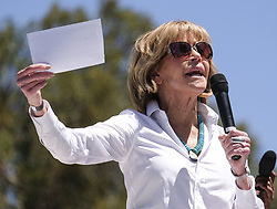 April 29, 2017 - Los Angeles, California, U.S - Actress JANE FONDA speaks before the ''People's Climate March'' a climate change awareness march and rally. The gathering was among many others of its kind held nationwide marking President Trump's 100th day in office. (Credit Image: © Ringo Chiu via ZUMA Wire)