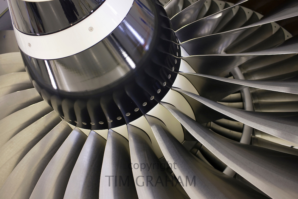 Detail of a Rolls Royce jet engine, in the production factory, Derbyshire, United Kingdom