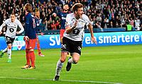 Football Playoff UEFA Europa League<br /> Rosenborg - Ajax<br /> Lerkendal Stadium, Trondheim, Norway<br /> 24 august 2017<br /> <br /> Nicklas Bendtner jubler etter 1-0 for Rosenborg, Lasse Schøne, Ajax,  depper i bakgrunnen<br /> <br /> <br /> Foto : Arve Johnsen, Digitalsport