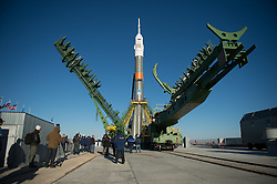 October 16, 2016 - Baikonur, Kazakhstan - The gantry arms are raised around the Russian Soyuz MS-02 spacecraft at the Baikonur Cosmodrome in preparation for launch to the International Space Station October 16, 2016 in Baikonur, Kazakhstan. Expedition 49-50 crew members American astronaut Shane Kimbrough, Russian cosmonauts Sergey Ryzhikov and Andrey Borisenko are scheduled to launch aboard the spacecraft on October 19. (Credit Image: © Joel Kowsky/Planet Pix via ZUMA Wire)