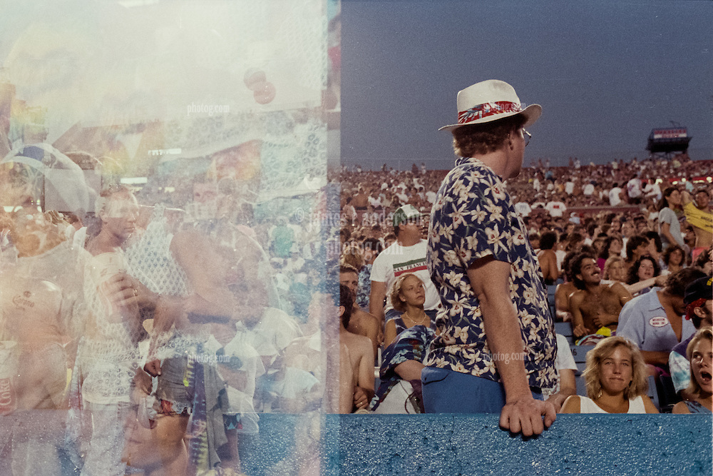 Double Exposure in Camera. The crowd before the Grateful Dead at Foxboro Stadium 2 July 1989. Massive Compilation of faces left half.