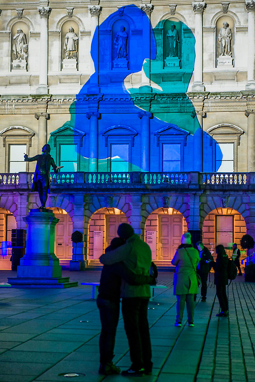 LOVE MOTION by<br /> Rhys Coren in the<br /> Royal Academy Courtyard - Lumiere London is a light festival that takes place over four evenings, from Thursday 18 to Sunday 21 January 2018. It showcases the capital's architecture and streets, with more than 50 works created by leading UK and international artists. The free outdoor festival returns to London for the second time following the success of the first edition in January 2016, which attracted an estimated 1.3 million visits. The 2018 edition has an expanded footprint extending north to south, from King's Cross, through Fitzrovia, Mayfair, and London's West End, to Trafalgar Square, Westminster, Victoria, South Bank and Waterloo. Lumiere is produced by Artichoke, the UK's leading producer of outdoor art events.